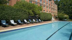 Indoor pool, seasonal outdoor pool, open 6 AM to 10 PM, pool umbrellas