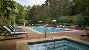 Indoor pool, seasonal outdoor pool, open 6 AM to 10 PM, pool umbrellas