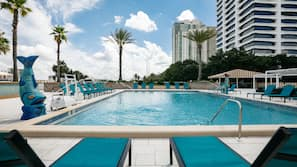 Outdoor pool, open 6 AM to 10 PM, free cabanas