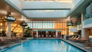 Indoor pool, open 8 AM to 6 PM, sun loungers
