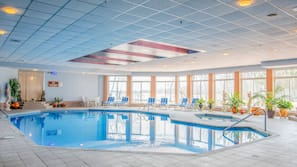 Indoor pool, open 7:00 AM to 10:00 PM, pool umbrellas, sun loungers