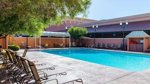 Seasonal outdoor pool, open 9:00 AM to 7:00 PM, pool umbrellas