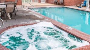 Seasonal outdoor pool, open 10:00 AM to 10:00 PM, sun loungers