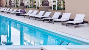 Seasonal outdoor pool, open 9 AM to 6 PM, cabanas (surcharge)