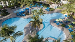 2 outdoor pools, open 8:00 AM to 8:00 PM, cabanas (surcharge)