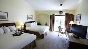 Hypo-allergenic bedding, down comforters, desk, blackout drapes