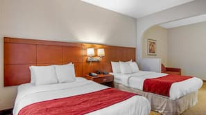 Premium bedding, desk, laptop workspace, soundproofing