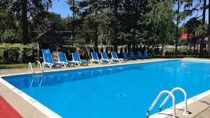Seasonal outdoor pool, open 9:00 AM to 8:00 PM, sun loungers