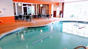 Indoor pool, seasonal outdoor pool, pool umbrellas