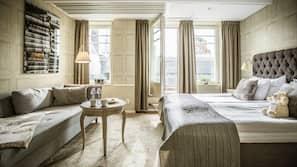 Allergitestade sängkläder, minibar och värdeförvaringsskåp på rummet
