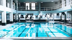 Indoor pool, open 6:00 AM to 10:00 PM, lifeguards on site