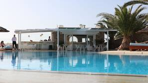Outdoor pool, open 10 AM to 11 PM, pool umbrellas, pool loungers