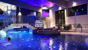 14 indoor pools, 3 outdoor pools