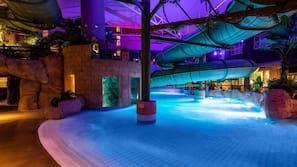 4 indoor pools, outdoor pool
