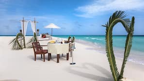 Private beach, white sand, free beach cabanas, sun-loungers