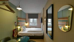 Hypo-allergenic bedding, desk, blackout curtains, soundproofing
