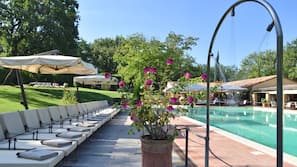 Piscina stagionale all'aperto, lettini