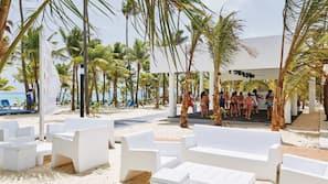 Private beach, sun loungers, beach towels, scuba diving