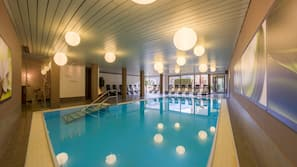 Indoor pool, outdoor pool, open 7 AM to 8 PM, sun loungers