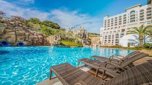 Indoor pool, outdoor pool, pool cabanas (surcharge)