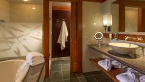 Separate tub and shower, deep soaking tub, designer toiletries