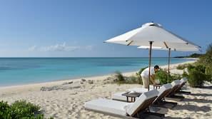 Private beach, white sand, beach towels, waterskiing