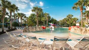 4 outdoor pools, open 8:00 AM to 11:00 PM, pool umbrellas, sun loungers