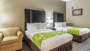 Premium bedding, down comforters, free WiFi, bed sheets