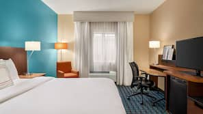 Egyptian cotton sheets, down comforters, pillowtop beds, desk