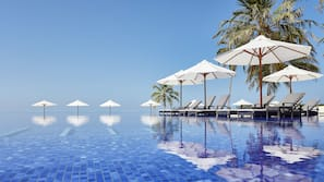2 outdoor pools, open 9:00 AM to 6:00 PM, pool umbrellas, sun loungers