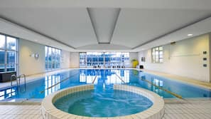 Indoor pool, open 7:00 AM to 9:30 PM, pool umbrellas, pool loungers