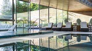 Indoor pool, outdoor pool, open 8:00 AM to 9:00 PM, pool umbrellas