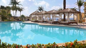 3 outdoor pools, open 8:00 AM to 10:00 PM, pool umbrellas, sun loungers