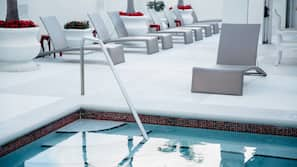Outdoor pool, open 6 AM to 11 PM, sun loungers