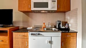Fridge, microwave, coffee/tea maker