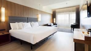 Egyptian cotton sheets, down comforters, memory foam beds, minibar