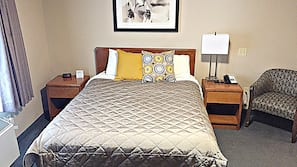 Pillow top beds, desk, blackout curtains, iron/ironing board