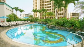 4 outdoor pools, open 8:00 AM to 7:00 PM, pool umbrellas, sun loungers