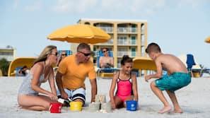 On the beach, white sand, beach volleyball, beach bar
