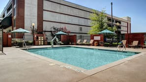 Outdoor pool, open 7 AM to 10 PM, pool umbrellas