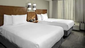 Premium bedding, desk, blackout curtains, iron/ironing board