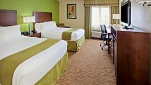 Premium bedding, pillow top beds, desk, laptop workspace
