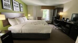 Memory foam beds, desk, laptop workspace, iron/ironing board