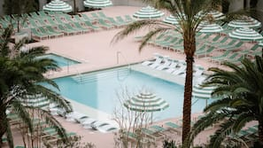 3 outdoor pools, open 9:00 AM to 5:00 PM, cabanas (surcharge)