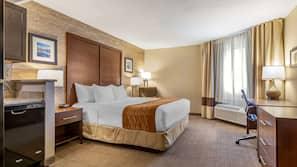 Premium bedding, desk, laptop workspace, iron/ironing board