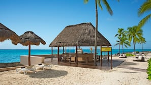 Private beach, white sand, beach cabanas, sun-loungers