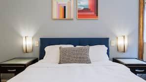 Premium bedding, memory-foam beds, blackout curtains, iron/ironing board