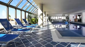 Indoor pool, seasonal outdoor pool, free pool cabanas, pool umbrellas
