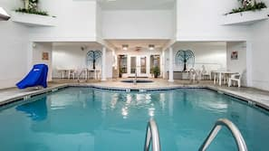 Indoor pool, seasonal outdoor pool, open open 24 hours, pool umbrellas
