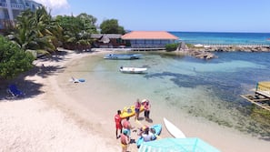 On the beach, scuba diving, snorkelling, beach volleyball